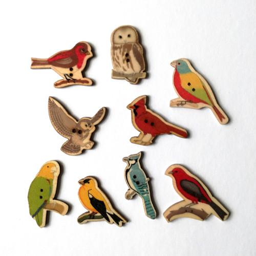 dřevěný knoflík ptáček - 3 ks
