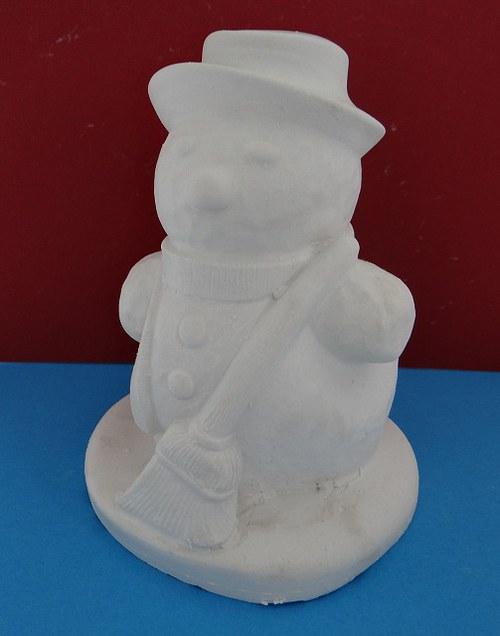 Sádrová dekorace 3D sněhulák