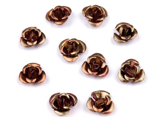 Růžička Ø10mm kovová hnědá, 10ks