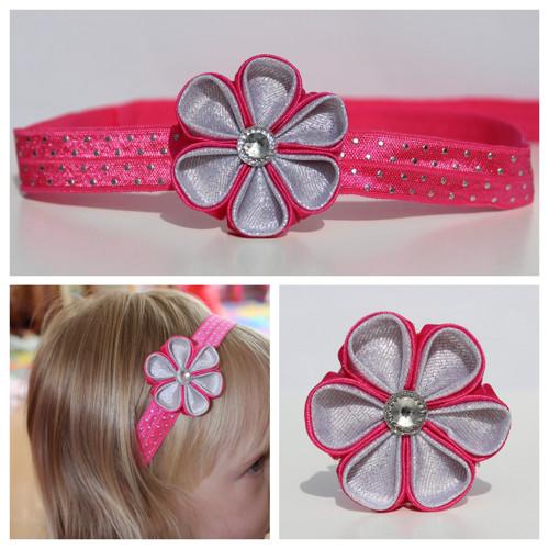 Čelenka pruženka s puntíky- růžovo-stříbrný květ