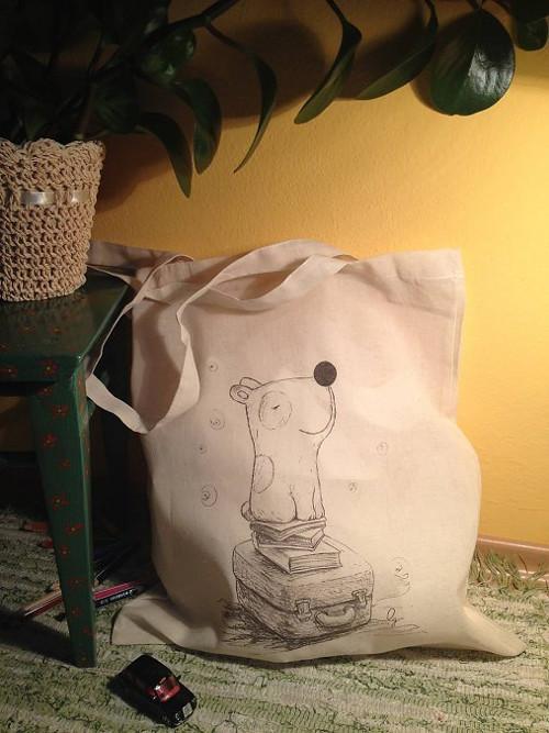 Nákupná taška psík cestovateľ