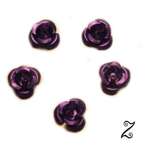 Kovová růžička, fialová tmavá, 12 mm (10ks)