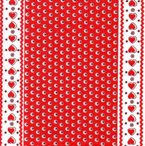 Papírový ubrousek,červené vločky a srdíčka,2ks
