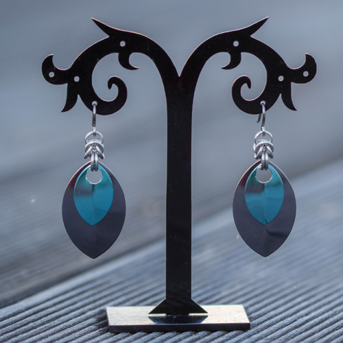 Náušnice Double Luxury - antracitová a bledě modrá