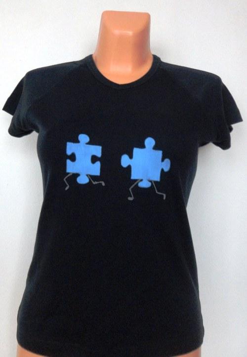 Tričko dámské Běžící puzzle modré