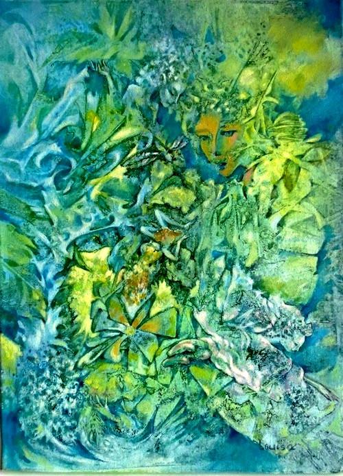 Motýlí královná - akryl, plátno 30x40 cm