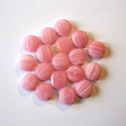 Skleněné mačkané korálky - růžové