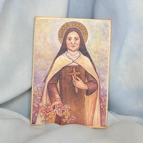Obrázek na dřevě 7x10cm - sv. Terezie