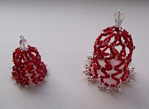 Vánoční zvonky z korálků - červené 2 ks