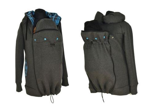 Nosící mikina-PŘEDNÍ/ZADNÍ NOŠ.-šedý melír+sv.modr