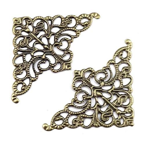 Velký bronzový filigránový komponent, 4 kusy