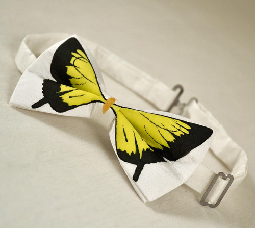 Motýlek - bílý se žlutým motýlem
