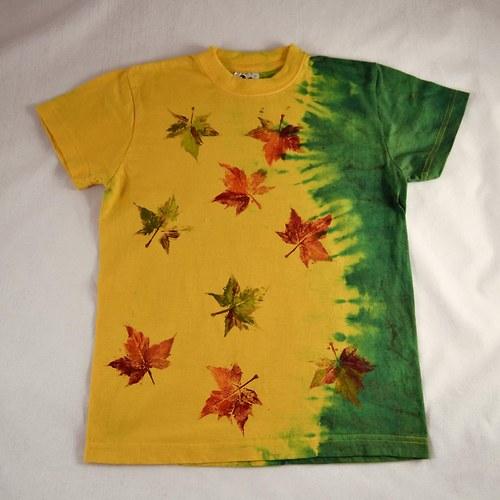 Žluto-zelené dětské tričko s listy (10 let)