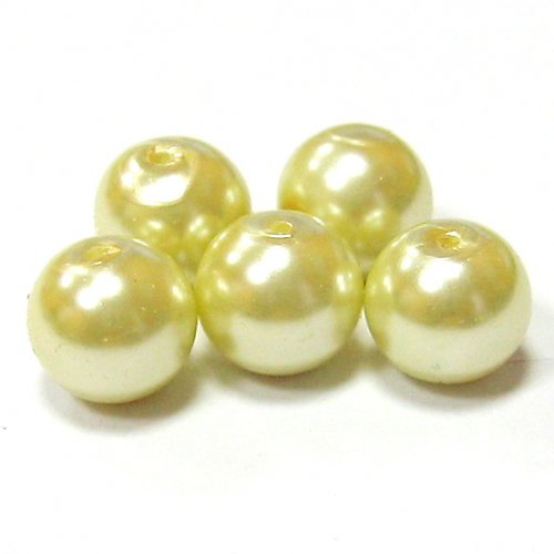 Perly voskové - 8 mm - smetanová - 10 ks