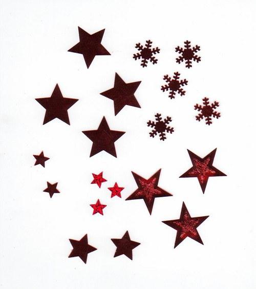 Hvězdičky + vločky v plastovém boxu - červené