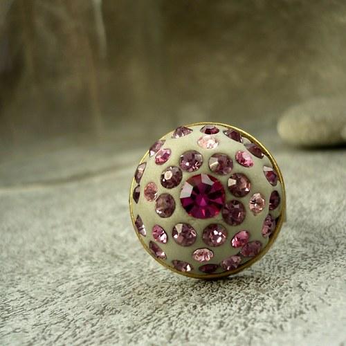 Růžové třpytky - prstýnek