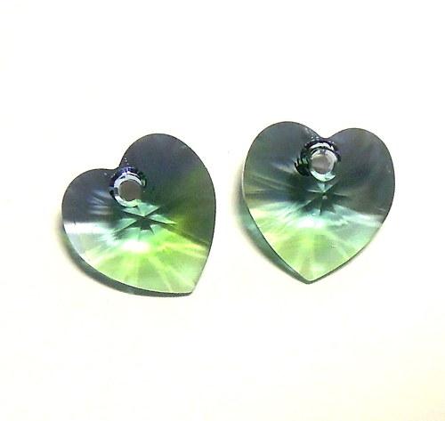 Swarovski srdce 10,5 mm - chrysokol