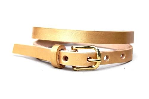 Kožený pásek úzký (zlatá)