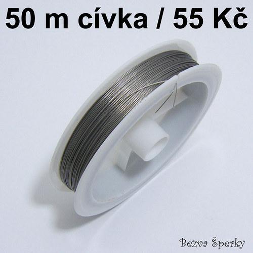 Ocelové lanko 50 m potažené nylonem, 0,45 mm