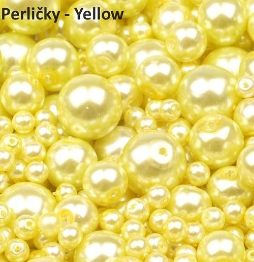 Mix perliček, 4-12mm, Yellow, 80 ks