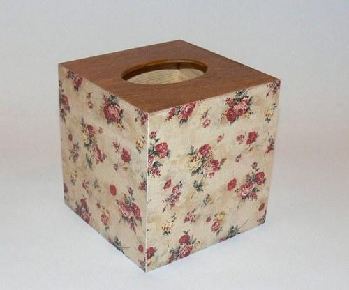Krabička na kapesníky - růže na béžové