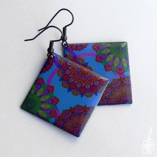 Velké náušnice s mandalami - barevné