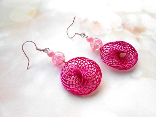 Náušnice spirálky růžové