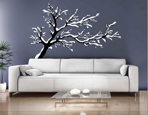 Zimní strom - samolepka na zeď