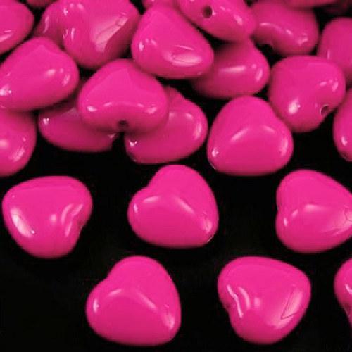 srdíčko akryl/ růžové/ 13x13mm/ 10ks