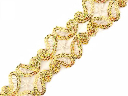 Flitrový prýmek na monofilu - zlatý