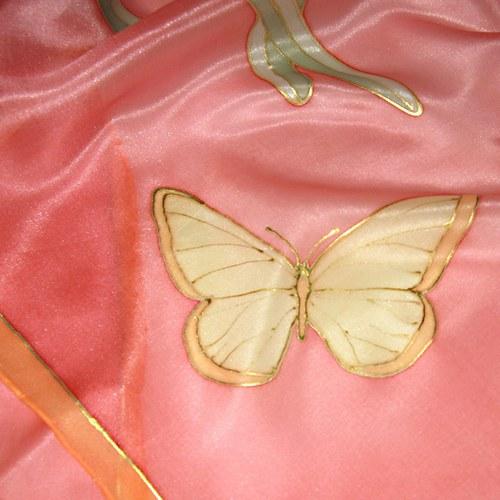 Motýli v růžové 40x150cm