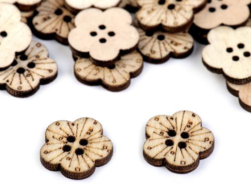Dřevěný knoflík květ 17,3cm (10ks)