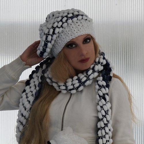 2v1 - oboustranný baret se šálou