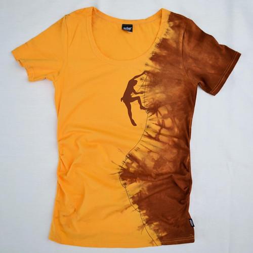 Těhotenské triko s horolezcem žlutooran./hnědá S/M