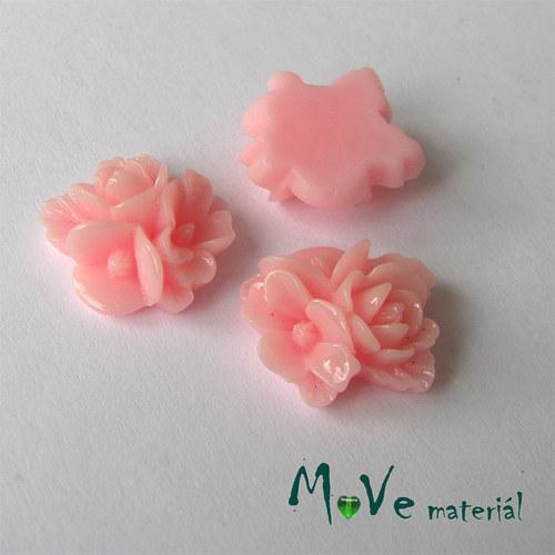 Kabošon květy lesklý A8 - resin - 2ks, sv. růžový