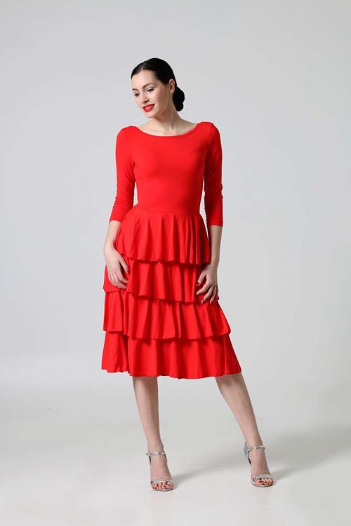Midi šaty volánové červené