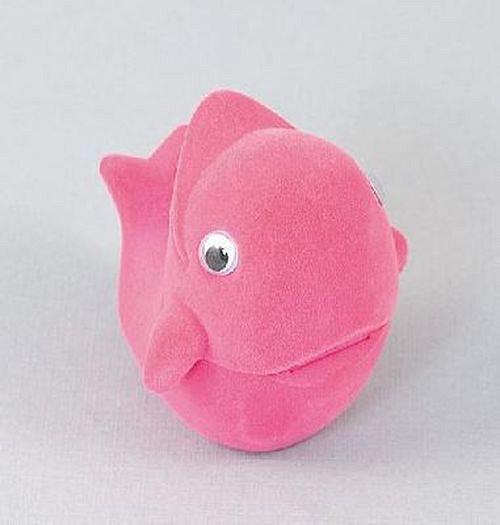 Sametová krabička na šperky - růžový delfín