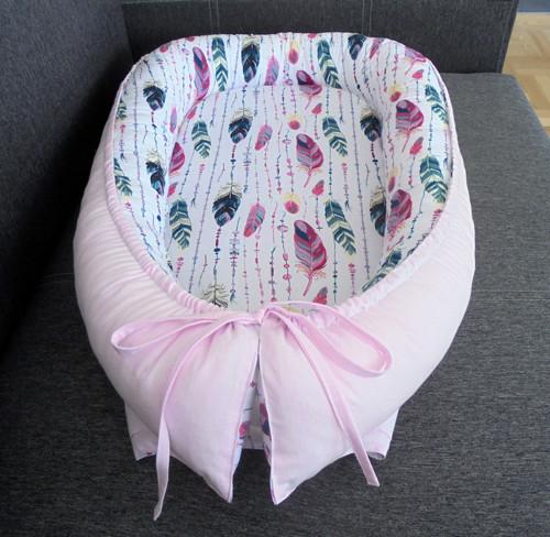 Hnízdečko pro miminko - růžovozelená  pírka
