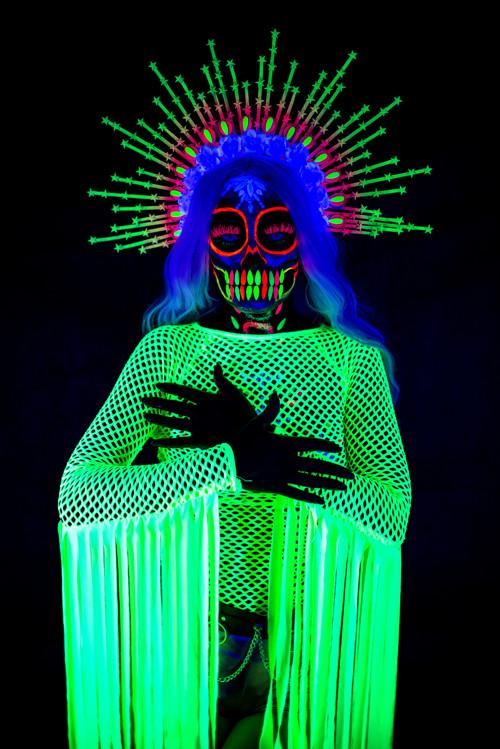 Neon UV active Festival Sugar Skull Halo crown