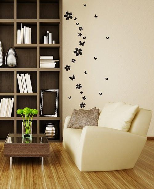 Samolepíci dekorace na zeď Malé motýle  kvetinky