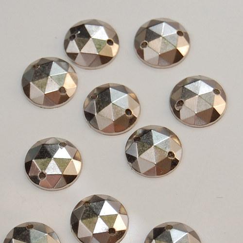 Našívací kamínek Kulatý stříbrná 10ks NK-153