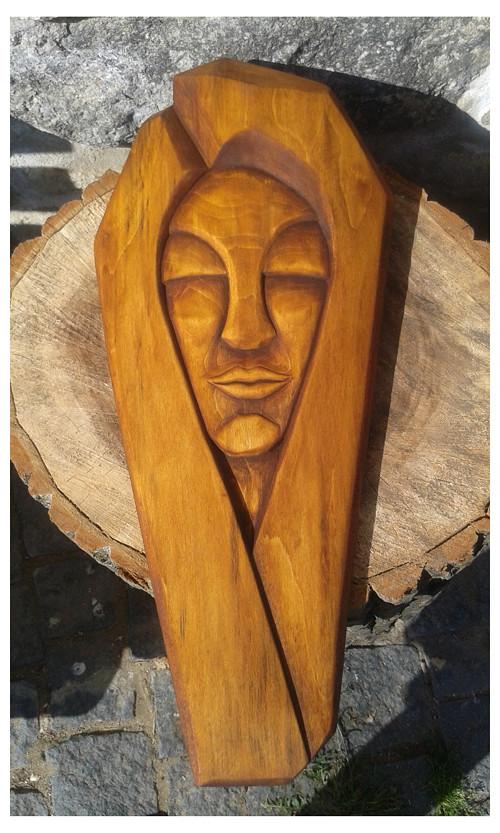 tvář dřevěná dekorace dřevořezba