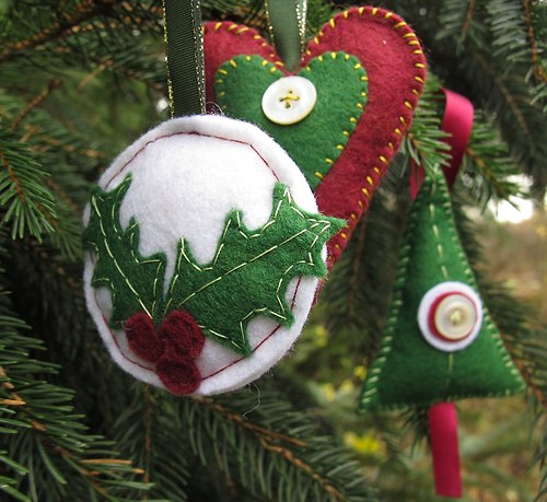 Vánoční filcové ozdoby 3 kousky