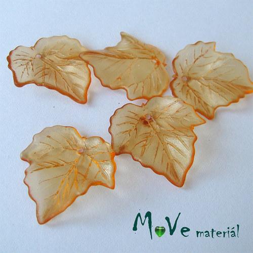 Akrylové transparentní lístečky, 5ks, oranžové