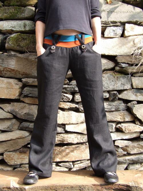 lněné kalhoty s knoflíky černé