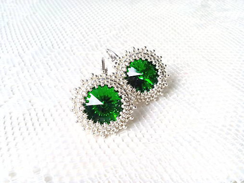 Green forest earrings (Rhodium / Swarovski)