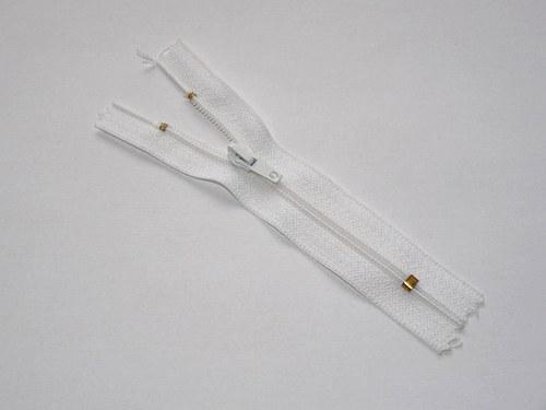Zip / zdrhovadlo - bílý, nedělitelný, 10cm