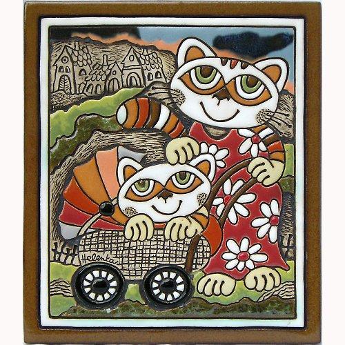 Keramický obrázek - Kočka a kočárek K-140-CE