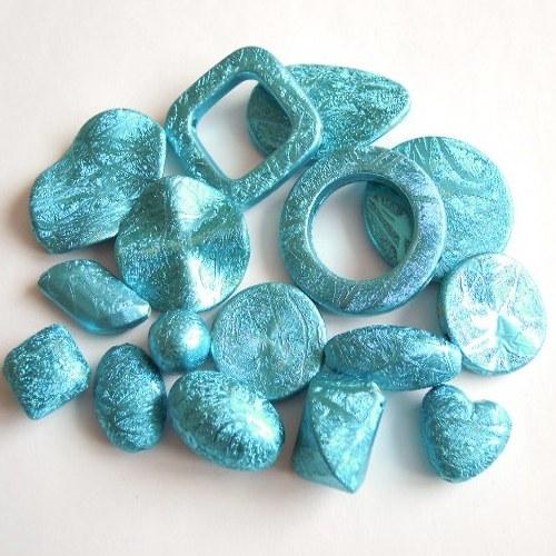 Stříkané korále - Mix modrý 10 ks/45,- Kč