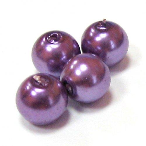 Perly voskové - 8 mm - fialová - 10 ks